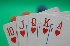 Poker Hand - Hearts Straight Flush Stock Photos