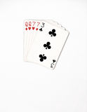 Poker hand ranking, symbol set Playing cards in casino: two pairs,queen, seven on white background, luck abstract Stock Photography