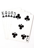 Poker hand rankings symbol set Playing cards in casino: flush on white background. Luck abstract stock image