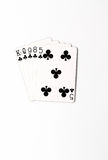 Poker hand rankings symbol set Playing cards in casino: flush on white background, luck abstract. Poker hand rankings symbol set Playing cards in casino: full royalty free stock photography