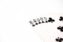 Poker hand rankings symbol set Playing cards in casino: flush on white background, luck abstract. Horizontal photo with copyspace closeup stock photo