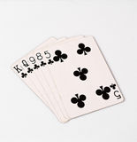 Poker hand rankings symbol set Playing cards in casino: flush on white background, luck abstract. Photo with copyspace closeup royalty free stock image