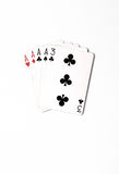 Poker hand rankings symbol set Playing cards in casino: four of a kind on white background, luck abstract. Vertical photo with copyspace royalty free stock image
