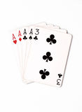 Poker hand rankings symbol set Playing cards in casino: four of a kind on white background, luck abstract. Vertical photo with copyspace closeup stock photos