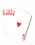 Poker hand rankings symbol set Playing cards in casino: Royal Flush on white background, luck abstract,. Vertical photo closeup royalty free stock photo