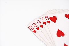 Poker hand rankings symbol set Playing cards in casino: straight Flush on white background, luck abstract. Horizontal photo with copyspace Royalty Free Stock Images