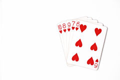Poker hand rankings symbol set Playing cards in casino: straight Flush on white background, luck abstract. Horizontal photo with copyspace stock image