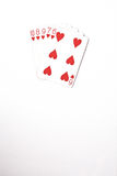 Poker hand rankings symbol set Playing cards in casino: straight Flush on white background, luck abstract, Stock Image