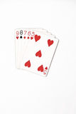 Poker hand rankings symbol set Playing cards in casino: straight on white background. Luck abstract stock photos