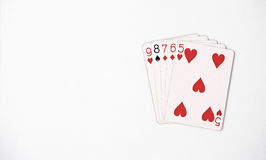 Poker hand rankings symbol set Playing cards in casino: straight on white background, luck abstract. Copyspace royalty free stock images