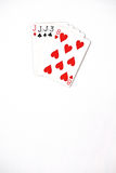 Poker hand rankings symbol set Playing cards in casino: three of a kind jack on white background, luck abstract Stock Image