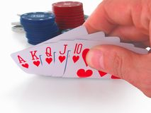 Poker hand, royal flush. On a white background royalty free stock image