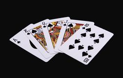 Poker Hand - Royal Flush. And black background Stock Images