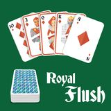 Poker hand royal flush. Casino poker gambling diamond royal flush hand and card pile composition vector illustration stock illustration
