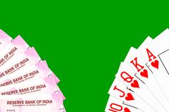 Poker cards mixed on the table royalty free stock photography
