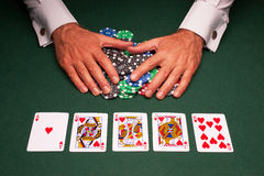 Poker hand royal flush win. Close up of card Royalty Free Stock Photos
