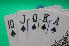 Poker Hand - Spades Straight Flush Stock Image