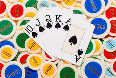 Poker hand with a straight flush in spades Stock Photography