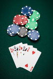 Poker hand Two-pair. Poker hand of five cards of Two-pair on a green table next to chips Stock Images