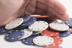 Poker hand win. When you win a poker hand you get all the chips on the table royalty free stock image