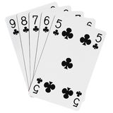 Poker hands. Five cards win poker combination royalty free stock photo