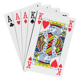 Poker hands. Five cards win poker combination royalty free stock photos
