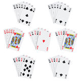 Poker hands. 7 poker hands isolated on white [with clipping path Stock Image