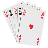 Poker hands. Five cards win poker combination stock photos