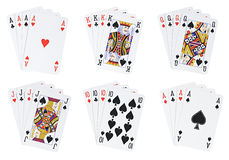 Poker hands. Isolated [with clipping path Stock Photos
