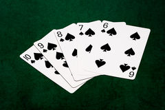 Poker hands - Straight flush ten to six Royalty Free Stock Image