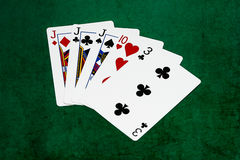 Poker hands - Three of a kind - jack, ten, three Royalty Free Stock Photography