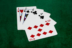 Poker hands - Two pair - jacks, fours, nine Stock Photography