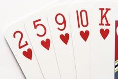 Poker - hearts flush Stock Photography