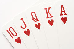 Poker - hearts royal flush Stock Photography