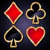 Poker icons. Sparkling poker game symbol icons illustration for casino design vector illustration