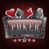 Poker  illustration with ornate frame and card symbols Royalty Free Stock Photo