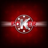 Poker illustration on a red background with card symbol and chip Stock Photos