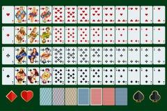 Poker kardiert ganzen Satz mit lokalisierten Karten auf grünem Hintergrund Lizenzfreie Stockfotos