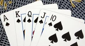 poker królewski ręka kasę Zdjęcie Stock