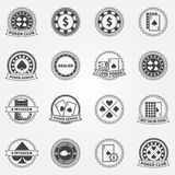 Poker Labels and Icons set Stock Photos