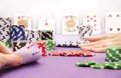 Poker Lady goes all in Royalty Free Stock Images