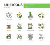 Poker - line design icons set Stock Photo
