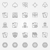 Poker line icons set. Vector gambling or casino concept concept signs in thin line style Royalty Free Stock Image