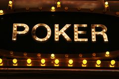Poker neon lights Royalty Free Stock Photo
