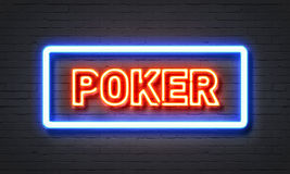 Poker neon sign Royalty Free Stock Photography