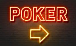 Poker neon sign Stock Photos
