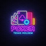 Poker neon sign design vector template. Casino Poker Texas Holdem Night Logo, Bright Neon Signboard, Design Element for Stock Photography