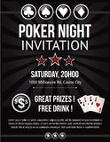 Poker night event invitation design in vector Royalty Free Stock Image
