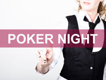 Poker night written on virtual screen. technology, internet and networking concept. woman in a black business shirt Royalty Free Stock Photo