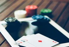 Poker online concept. Bet and win money gambling on internet. Gambling and betting online concept. Winning money playing in casinos on internet stock photos